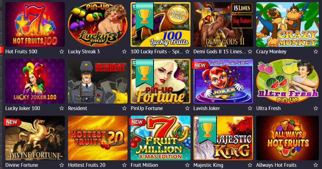 Игры в казино ПинАп